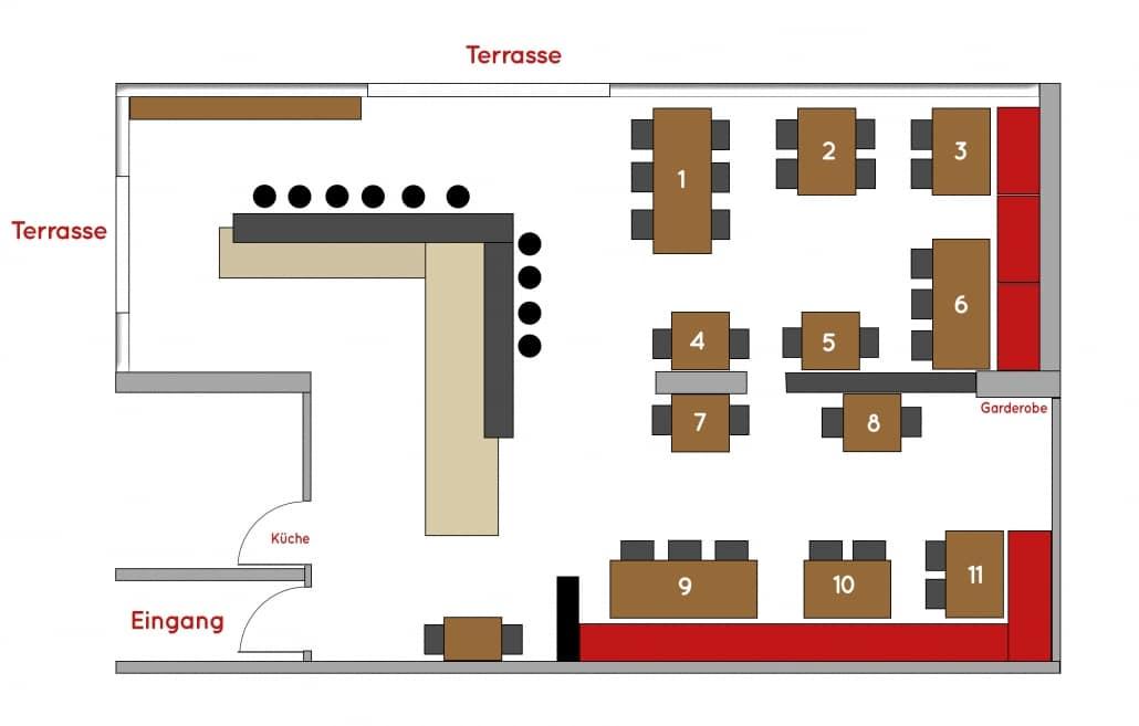 89ers Tischplan Restaurant